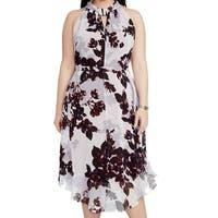 Rachel Rachel Roy Purple Womens Size 22W Plus Floral Sheath Dress