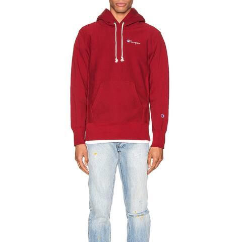 Champion Reverse Weave Small Script Hooded Men Sweatshirt Red - MED