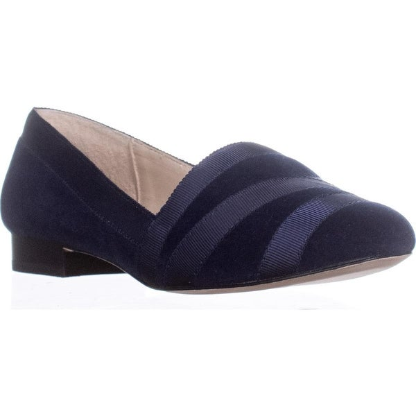 Bettye Muller Reed Striped Ribbon Loafers, Navy - 7.5 us