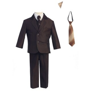 Boys Brown Two-button Herringbone Pattern Special Occasion Suit 8-14