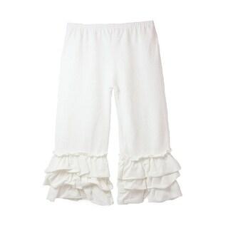 Girls Ivory Triple Tier Ruffle Cuffed Cotton Spandex Pants 12M-6