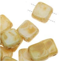 CzechMates Glass 2-Hole Square Tile Beads 6mm 'Opaque White Picasso' (1 Strand)