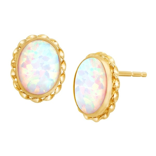 Created Opal Stud Earrings in 14K Gold
