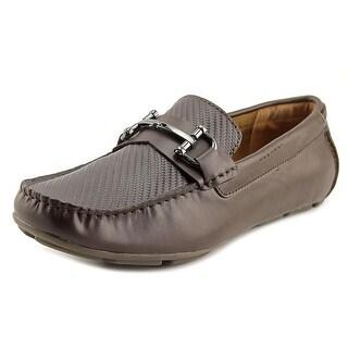 Alfani Len Men Square Toe Leather Brown Loafer