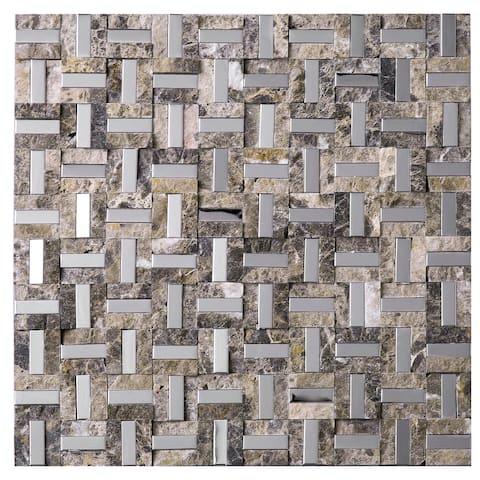 "TileGen. Maze 0.4"" x 1.2"" Metal Splitface Tile in Brown/Silver Wall Tile (10 sheets/10sqft.)"