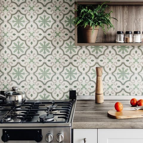 "SomerTile Monteca Green Encaustic 9.75"" x 9.75"" Porcelain Floor and Wall Tile"