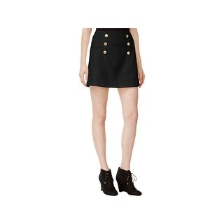 Kensie Womens Mini Skirt Quilted Button Detail