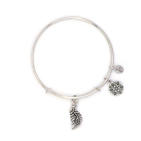 Peacock Feather Adjustable Charm Bangle Bracelet, Silver Rhodium