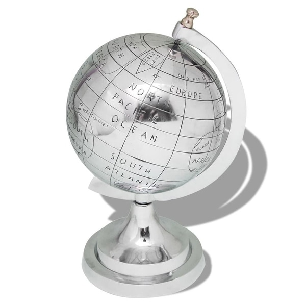 vidaXL Globe with Stand Aluminum Silver 13.8""
