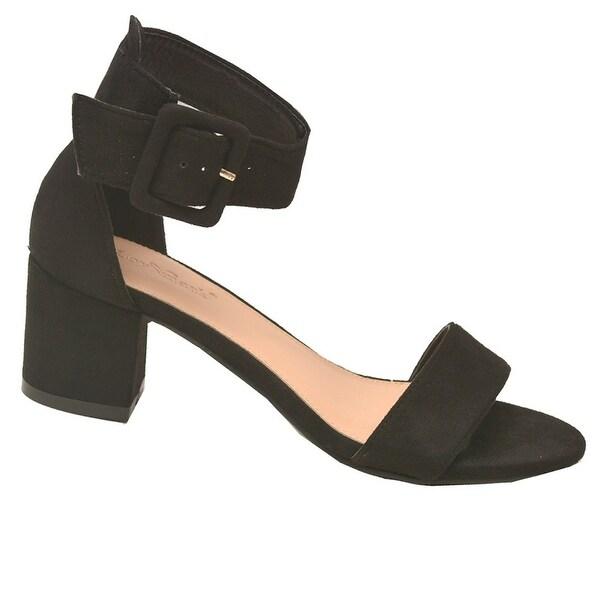 f3415584264a Shop Lov mark Adult Black Faux Suede Open Toe Block Heeled Sandals ...