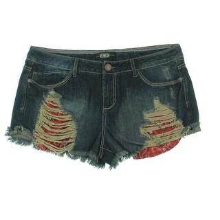 Rewash Womens Juniors Denim Shorts Denim Destroyed