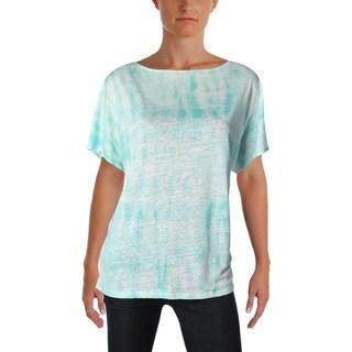 Lauren Ralph Lauren Womens Petites T-Shirt Linen Tie-Dye - pl