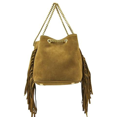 Yves Saint Laurent Women's Emmanuelle Brown Suede Fringe Bucket Bag 434594 7735 - One size