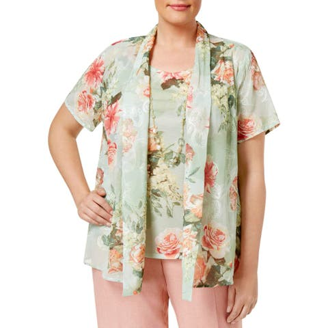 Alfred Dunner Womens Plus Blouse Chiffon Embroidered