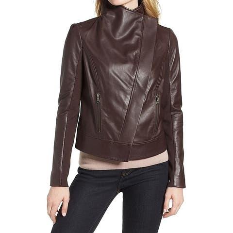 Trouve Brown Womens Size XXS Drape Front Motorcycle Leather Jacket