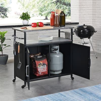 FirsTime & Co. Black Davidson Indoor Outdoor Grilling Kitchen Cart, Metal