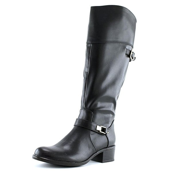Alfani Womens Fidoe Wide Calf Leather Almond Toe Knee High Fashion Boots