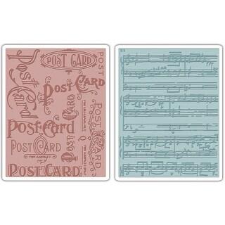 Sizzix Texture Fades A2 Embossing Folders 2/Pkg-Postcard & Sheet Music By Tim Holtz