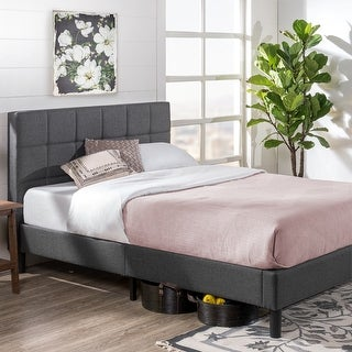 Link to Priage by ZINUS Grey Upholstered Square Stitched Platform Bed Frame Similar Items in Bedroom Furniture