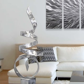 Statements2000 Large Abstract Metal Sculpture Modern Indoor Outdoor Decor by Jon Allen - Sea Breeze with Silver Base