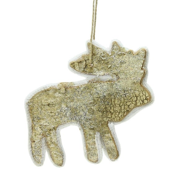 """5.25"""" Caribou Reindeer Silhouette Glittered Wood Christmas Ornament"""