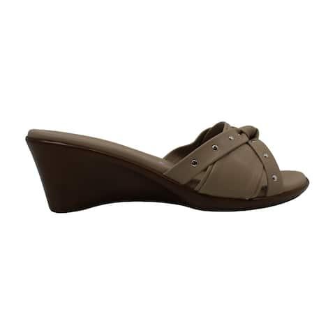 ITALIAN Shoemakers Womens Avra Leather Open Toe Casual Platform Sandals