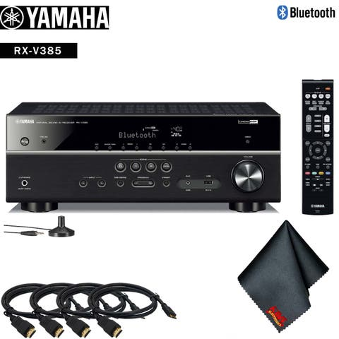 Yamaha RX-V385 5.1-Channel A/V Receiver Accessory Kit - Includes - 4 x HDMI Cable + More!