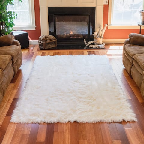 Faux Sheepskin Soft and Plush Shag Area Rug 5x8 Rectangle White - 5' x 8'