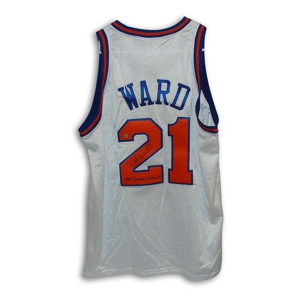 7bf981b6785 Shop Charlie Ward New York Knicks Autographed White Throwback Jersey  Inscribed