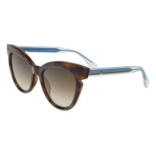 Fendi FF0132S 0N9D Lines Havana Cat Eye Sunglasses