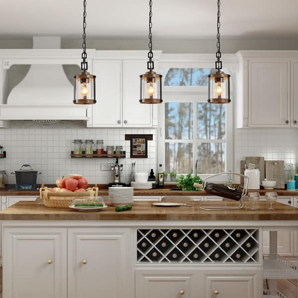 Modern Farmhouse Pendants Lighting For Kitchen Island Faux Wood Hanging Ceiling Lamp