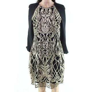Badgley Mischka NEW Gold Women's Size 2 Embroidered Sheath Dress
