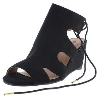 Qupid Womens Faux Suede Cut-Out Wedge Sandals