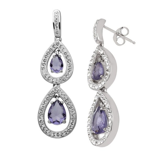 Crystaluxe Drop Earrings with Purple Swarovski Crystals in Sterling Silver
