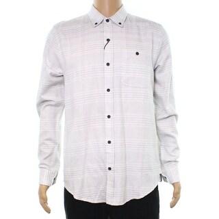 Ezekiel NEW Gray Mens Size Medium M Night Owl Button Down Plaid Shirt