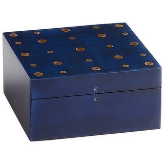 "Cyan Design 09789  Dotty 3"" x 6"" Wood Decorative Container with Brass Accents - Blackened Blue"