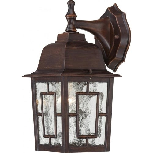 Nuvo Lighting 60/4922 Banyon Single-Light Wall Lantern with Clear Water Glass Panels