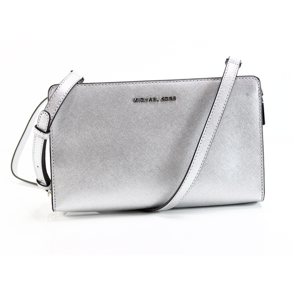 56665a21aca4 Shop Michael Kors Silver Saffiano Leather Large Crossbody Clutch ...