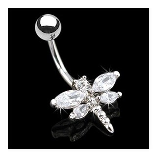 "Surgical Stainless Steel Marquise CZ Winged Dragonfly Navel Belly Button Ring - 14GA 3/8"" Long"