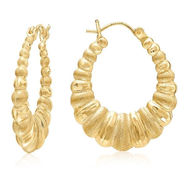 "Mcs Jewelry Inc 10 KARAT YELLOW GOLD CLASSIC SHRIMP HOOP EARRINGS (1.1"" LONG)"