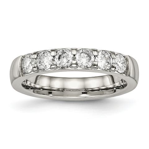 Chisel Stainless Steel Polished Cubic Zirconia 4.00mm Wedding Band