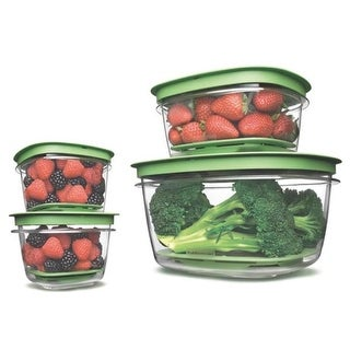 Rubbermaid FG7J9300FRESH Produce Saver Food Storage Container, 4 Piece Set