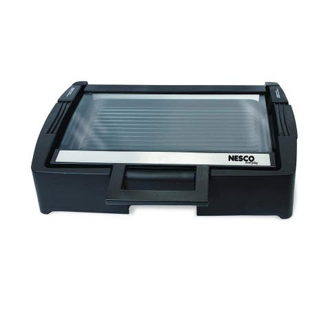 "Nesco American Harvest GRG-1000 Electric Grill with Glass Lid, 17"" x 14"", Black"