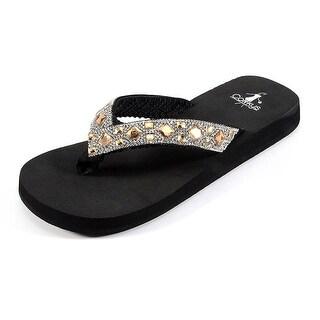Corkys Women's Elegant Flip-Flop Sandal - Bronze