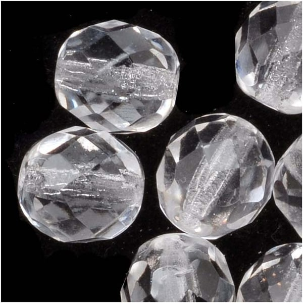 Czech Fire Polished Glass Beads 8mm Round 'Crystal Clear' (25)