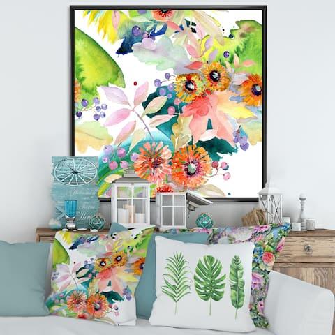 Designart 'Vibrant Wild Spring Leaves and Wildflowers III' Modern Framed Canvas Wall Art Print