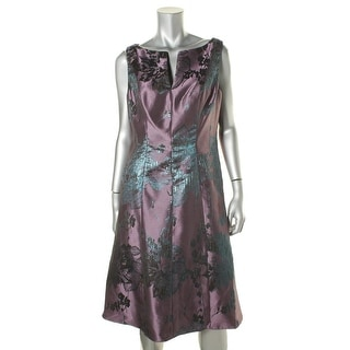 Adrianna Papell Womens Jacquard Metallic Party Dress
