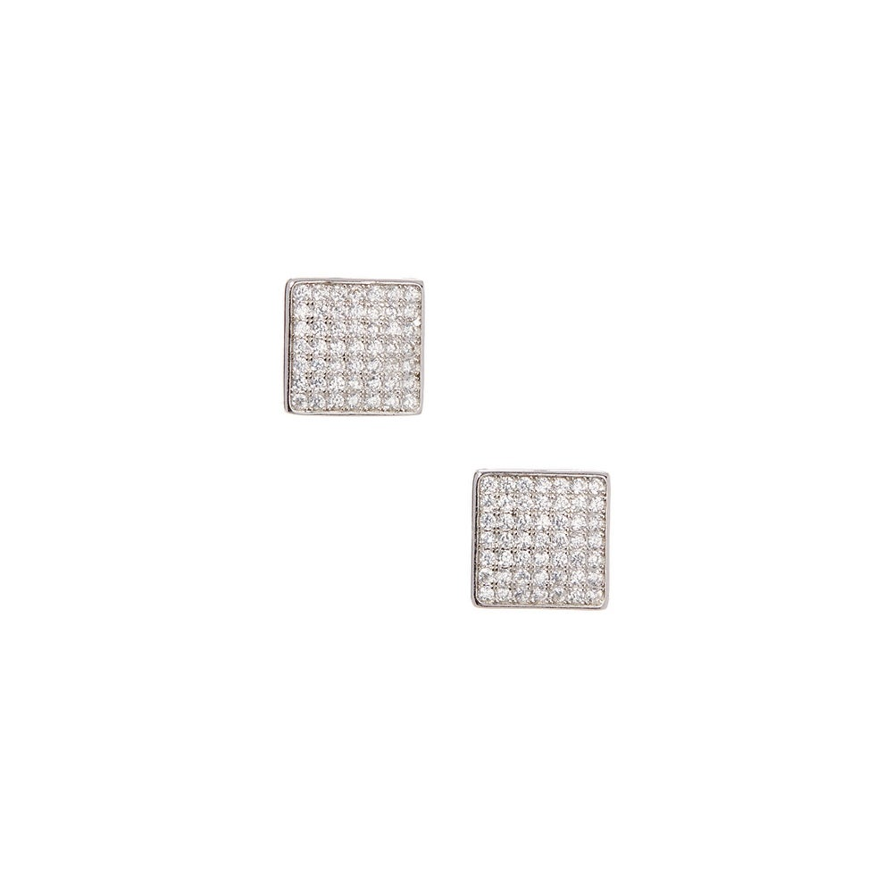925 Sterling Silver Square Stud Earrings with Cubic Zirconia - Thumbnail 0