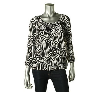 MICHAEL Michael Kors Womens Kearny Peasant Top Printed 3/4 Sleeves