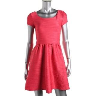 B. Darlin Womens Juniors Party Dress Textured Short Sleeves